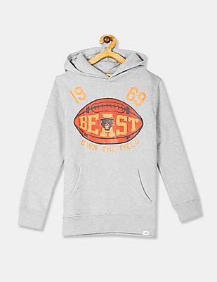 GAP Grey Boys Graphic Print Hooded Sweatshirt