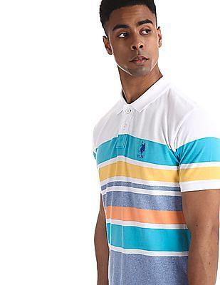 U.S. Polo Assn. Multi-colour Slim Fit Striped Polo Shirt