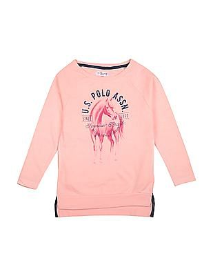 U.S. Polo Assn. Kids Girls Raglan Sleeve Printed Sweatshirt