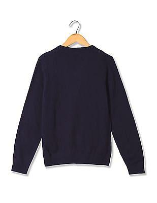 U.S. Polo Assn. Kids Boys V-Neck Long Sleeve Sweater