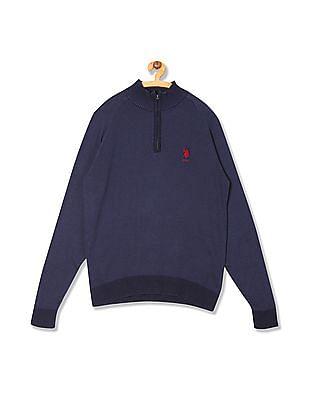 U.S. Polo Assn. High Neck Patterned Knit Sweater
