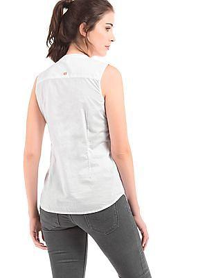 U.S. Polo Assn. Women Ruffle Trim Regular Fit Shirt