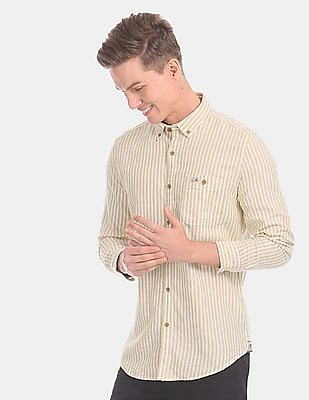 U.S. Polo Assn. Denim Co. Men Beige And Off-White Button Down Stripe Casual Shirt