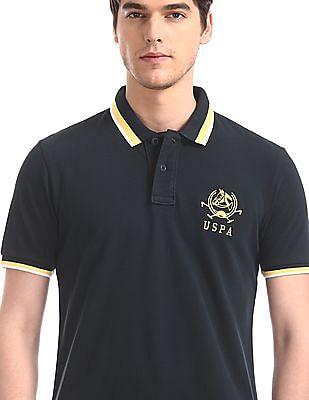 U.S. Polo Assn. Blue Contrast Tipping Pique Polo Shirt