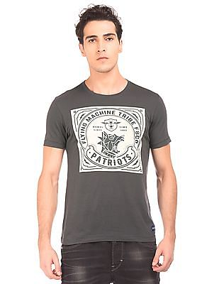 Flying Machine Vintage Print Crew Neck T-Shirt