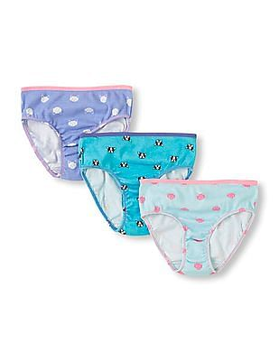 2967dcfa8643 Buy Girls Girls Printed Cotton Panties - Pack Of 3 online at NNNOW.com