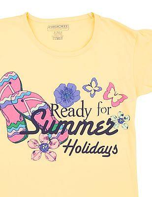 Cherokee Girls Summer Print Cotton T-Shirt
