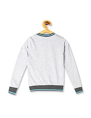 Cherokee Grey Boys Striped Trim Graphic T-Shirt