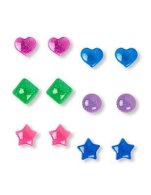 The Children's Place Girls Glitter Mixed Bubble Shape Earrings 6-Pack