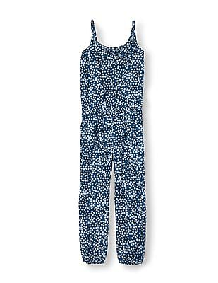 The Children's Place Girls Sleeveless Daisy Printed Denim Jumpsuit