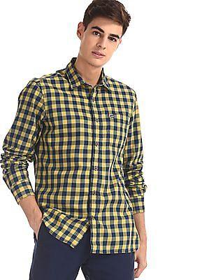 Arrow Sports Yellow Slim Fit Check Shirt
