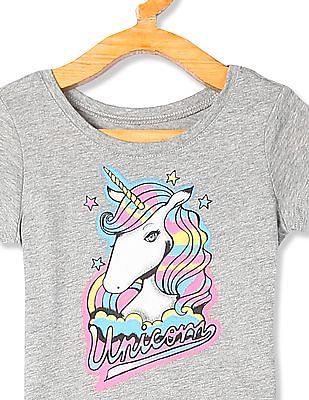 The Children's Place Grey Toddler Girl Unicorn Print Crew Neck T-Shirt