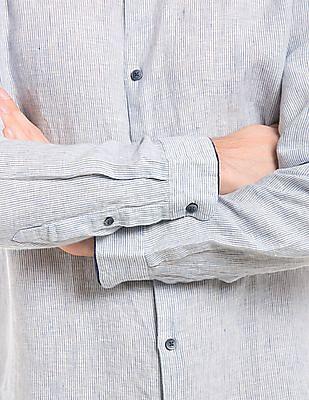 True Blue Mandarin Collar Linen Shirt