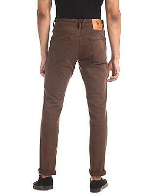 U.S. Polo Assn. Denim Co. Brown Brandon Slim Tapered Fit Mid Waist Jeans