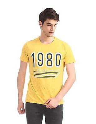 Flying Machine Yellow Crew Neck Nep T-Shirt