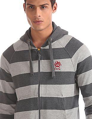 U.S. Polo Assn. Grey Hooded Striped Sweatshirt
