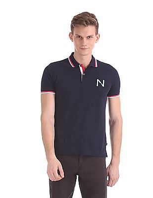 Nautica Short Sleeve Solid Tipped Pique Polo