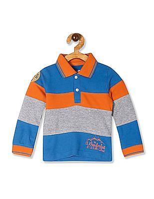 Donuts Multi Colour Boys Long Sleeve Pique Polo Shirt