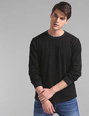 GAP Grey Long Sleeve Waffle Stripe T-Shirt