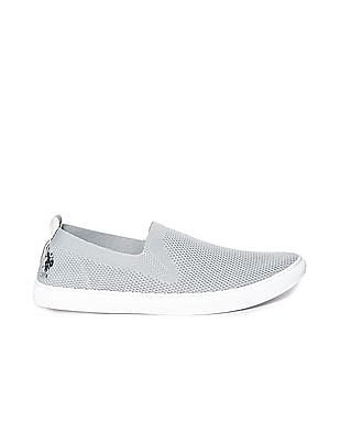 U.S. Polo Assn. Grey Textured Knit Slip On Shoes