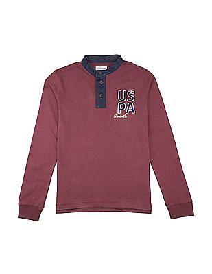 U.S. Polo Assn. Kids Boys Printed Back Mandarin Collar Polo Shirt