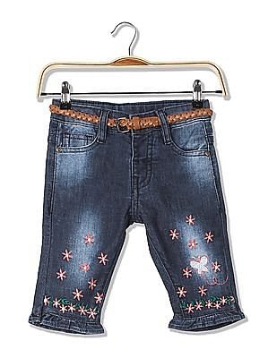 Donuts Girls Belted Embroidered Jeans