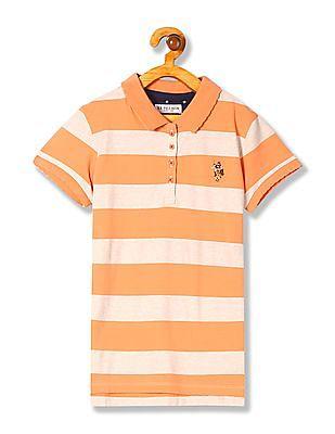 U.S. Polo Assn. Kids Girls Standard Fit Striped Polo Shirt