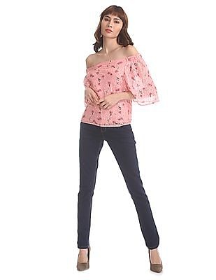 SUGR Pink Lace Off Shoulder Top