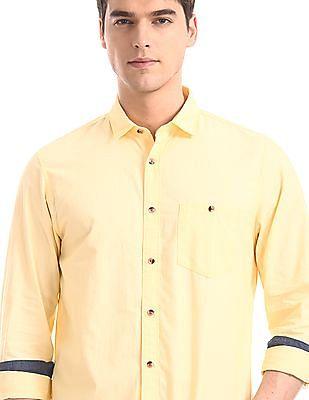 Ruggers Yellow Semi Cutaway Collar Solid Shirt