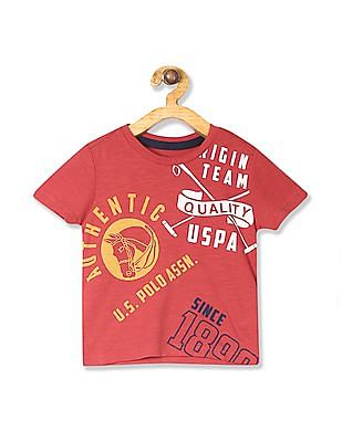 U.S. Polo Assn. Kids Red Boys Slub Cotton Graphic T-Shirt