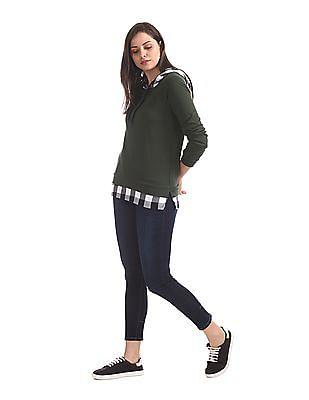 SUGR Green Layered Hem Hooded Sweatshirt