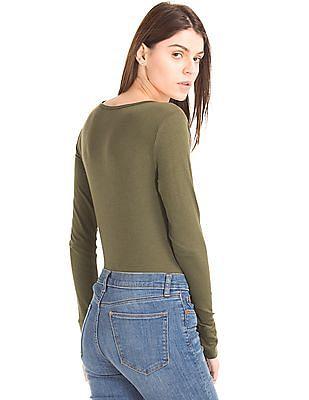 GAP Women Green Long Sleeve Tunic Tee