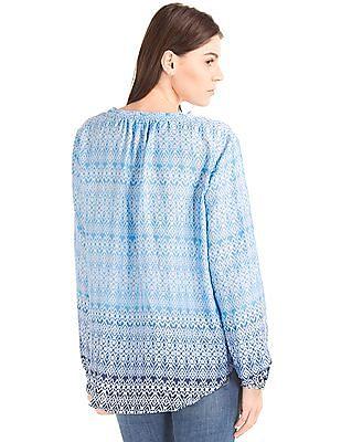 GAP Women Blue Silky Split Neck Blouse