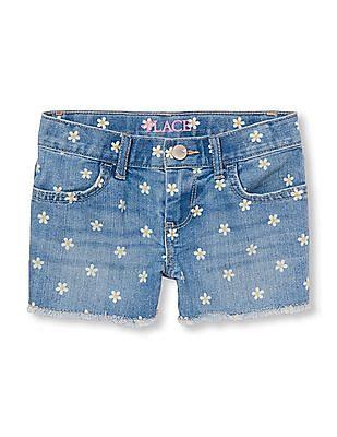 The Children's Place Girls Daisy Print Denim Shortie Shorts