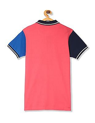 FM Boys Pink Boys Colour Block Pique Polo Shirt
