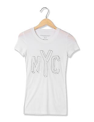 Aeropostale Round Neck Sequinned T-Shirt