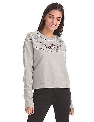 Aeropostale Embroidered Yoke Crop Sweatshirt