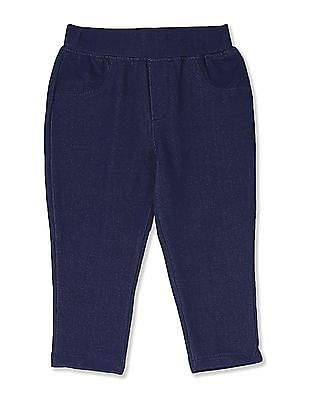 Donuts Blue Girls Solid Knit Jeggings