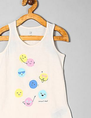 GAP White Toddler Girl Graphic Tank Top