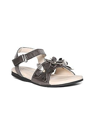 SUGR Silver Girls Flower Accent Metallic Sandals