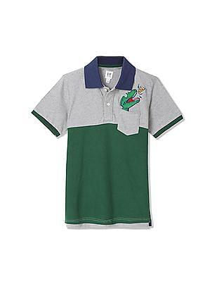 GAP Boys Grey Colour Block Polo Shirt