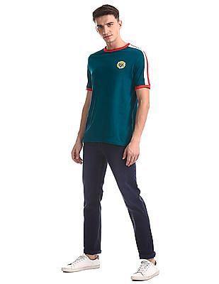 Colt Green Regular Fit Contrast Stripe T-Shirt