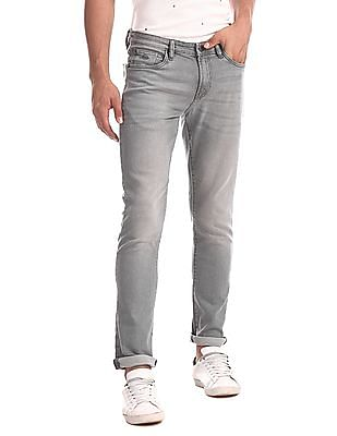 Arrow Sports Grey James Slim Fit Stone Wash Jeans