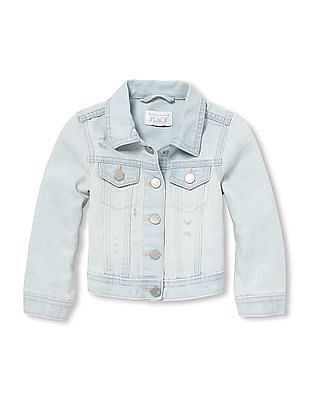 The Children's Place Baby And Toddler Girl Distressed Denim Jacket