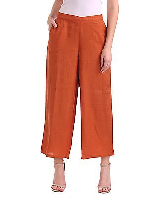 Bronz Regular Fit Patterned Palazzos