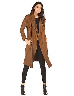 Elle Suedette Waterfall Front Trench Coat