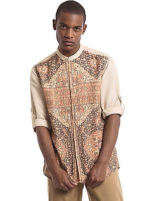 True Blue Mandarin Collar Printed Front Shirt
