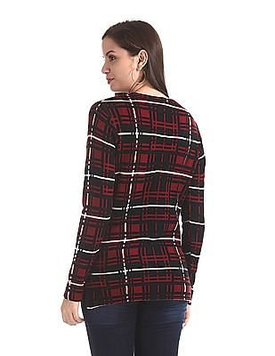 SUGR Red Vented Hem Check Sweater