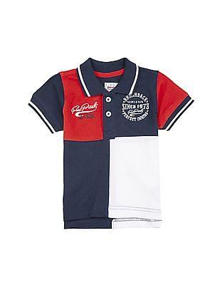 Donuts Boys Colour Block Cotton Polo Shirt