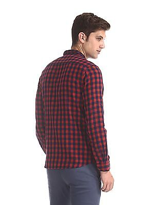 Cherokee Red And Navy Spread Collar Check Shirt